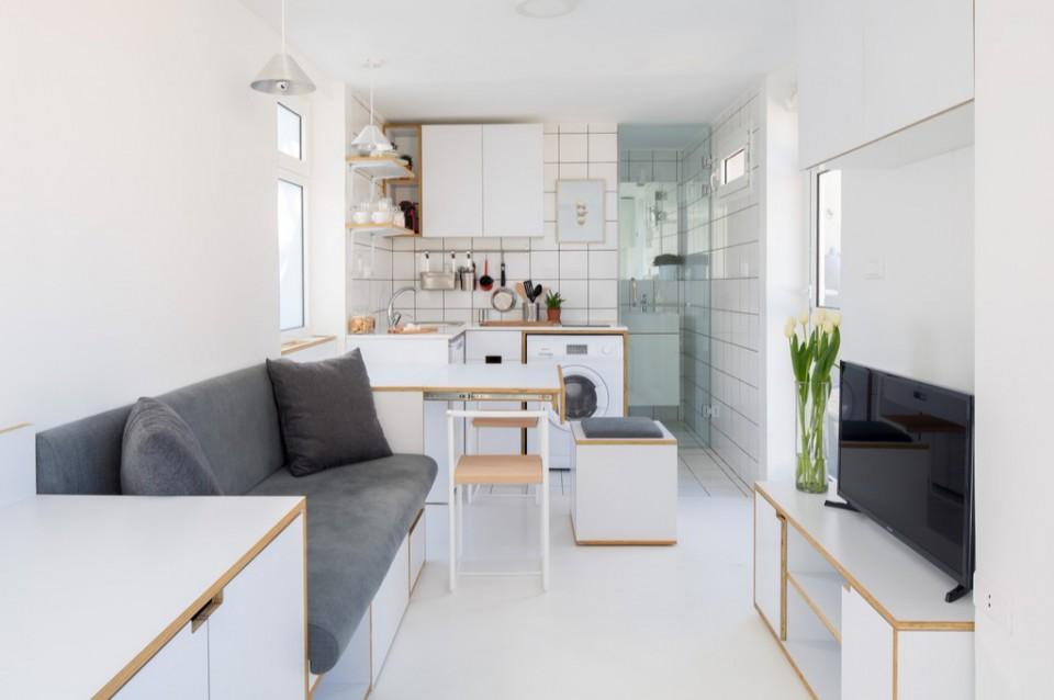 Apartemen 15 Meter Persegi Serba Putih Yang Didesain